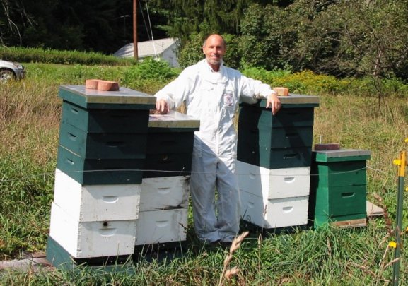 The doctor with his bee hives
