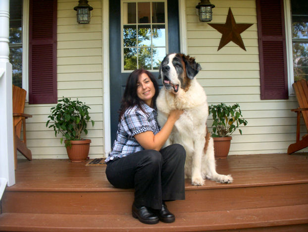 Susan and her St. Bernard Bailey