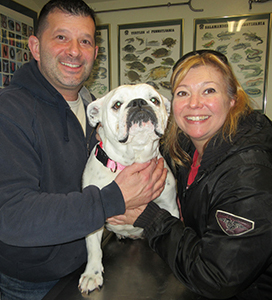 Couple with their bulldog