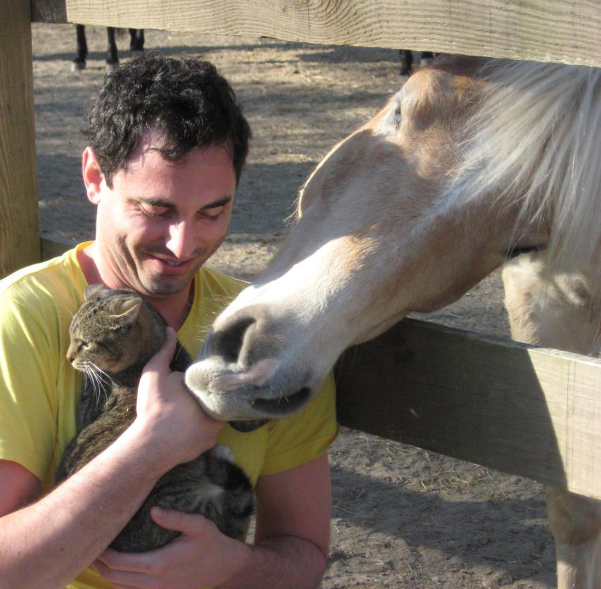 Man holding cat being nuzzled by horse through the fence